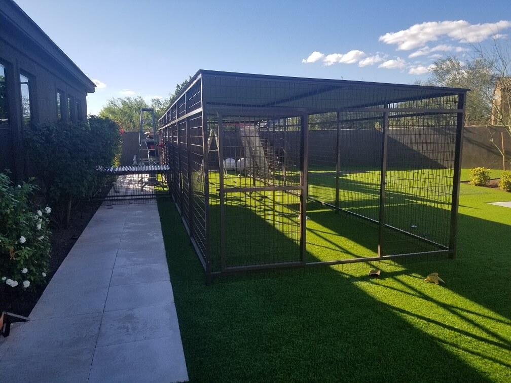 Large Coyote Proof Kennels Installed.
